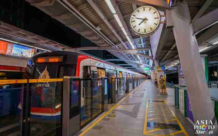 Before 8 p.m. on April 2 – a time when normally lines to board the Skytrain at Asok BTS station can stretch off the platform and down the steps – no one was waiting to board.