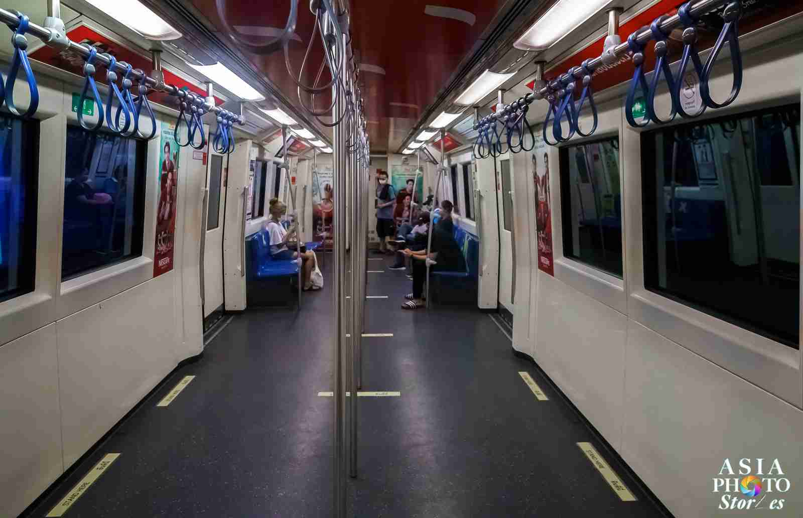 Usually packed shoulder-to-shoulder until past 8 p.m., Bangkok's Skytrain runs nearly empty in the 7 o'clock hour April 2.